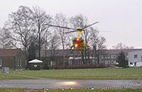 EC 135 des ADAC im Anflug auf den Helipad von Christoph Europa 1