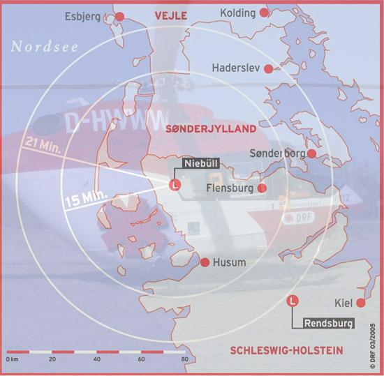Einsatzgebiet des Christoph Europa 5 - es umfasst das nördlichste Deutschland und Süddänemark.