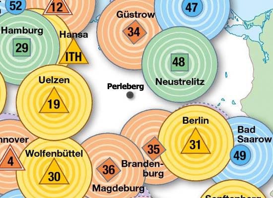 In einem Ausschnitt aus der ADAC-Standortkarte eingezeichnet hier die Lage von Perleberg