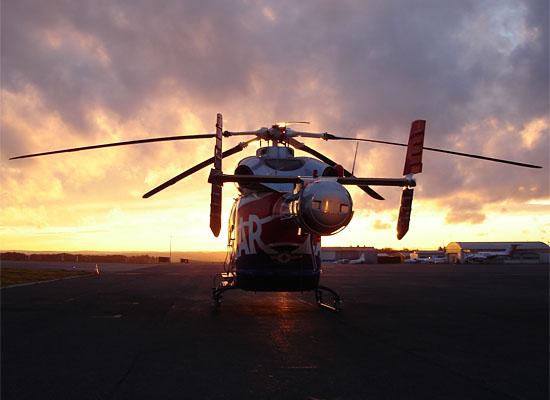 """Archivbild eines """"Air Rescue""""-Hubschraubers der Luxembourg Air Rescue an deren Heimatflughafen"""