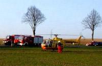 Flog bis 2003: Die kleinere BO 105, hier bei einem Verkehrsunfall zu Hilfe geeilt