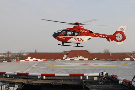 Christoph 49 mit EC 135 in Cottbus im Einsatz