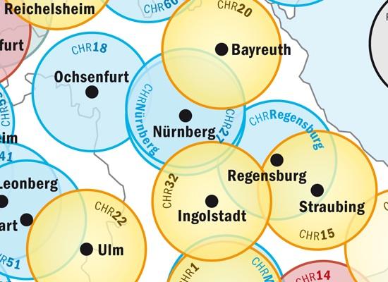 Ausschnitt aus ADAC-Infografik zum derzeitigen Standortnetz der Luftrettung mit regionalen Abdeckungslücken