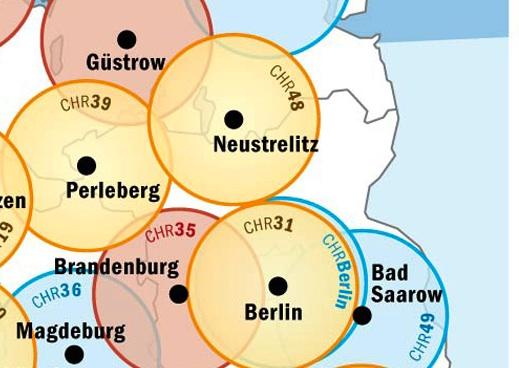 Kartenausschnitt der Luftrettungsstandorte in den Regionen rund um die Uckermark