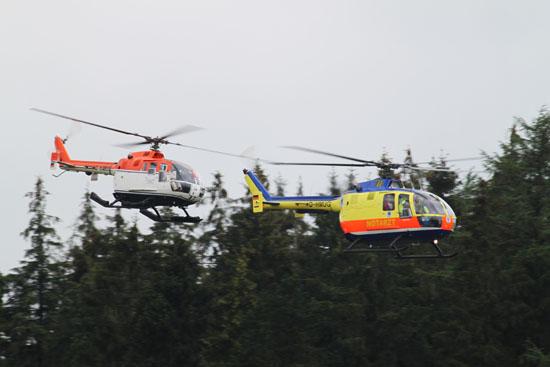 """FlyIn des NEH """"Kuno SH-01"""" in Formation mit einer zweiten BO 105"""