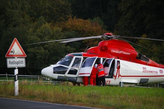 Christoph Hessen mit der D-HJUH im Idsteiner Herbstwald bei einem Einsatz