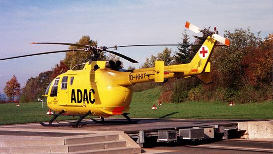 Die MBB / Eurocopter BO 105 flog in Bayreuth von Beginn an