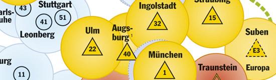 Kartenausschnitt, der den Standort des geplanten RTH in Augsburg zeigt