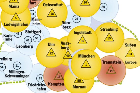 """Kartenausschnitt, der den Standort und das Einsatzgebiet des künftigen RTH """"Christoph 40"""" in Augsburg zeigt"""