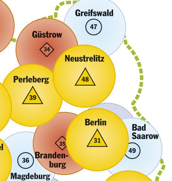 Der Kartenausschnitt zeigt die Luftrettungslücke im Nordosten Brandenburgs