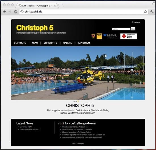 Im Jahr 2013 präsentiert sich Christoph 5 wie hier zu sehen in einem sehr aufgeräumten Layout