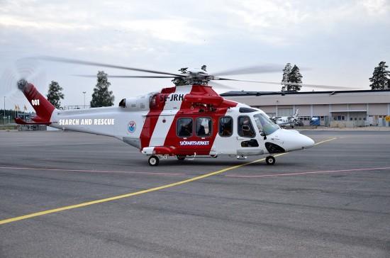 """Die erst ausgelieferte Maschine vom Typ AW 139 fliegt mit der Kennung """"SE-JRH"""""""