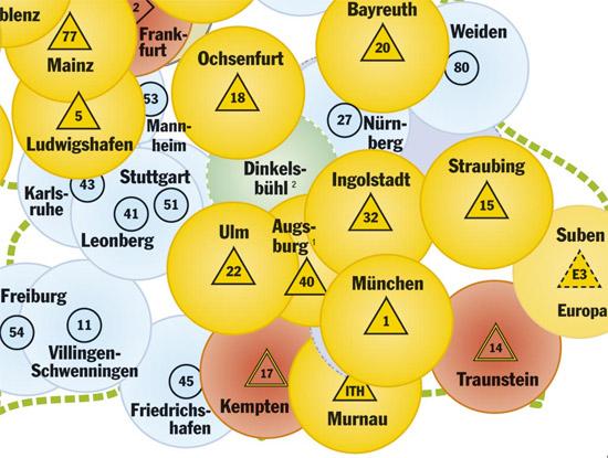"""Der Kartenausschnitt zeigt das künftige Einsatzgebiet des """"Christoph 40"""""""