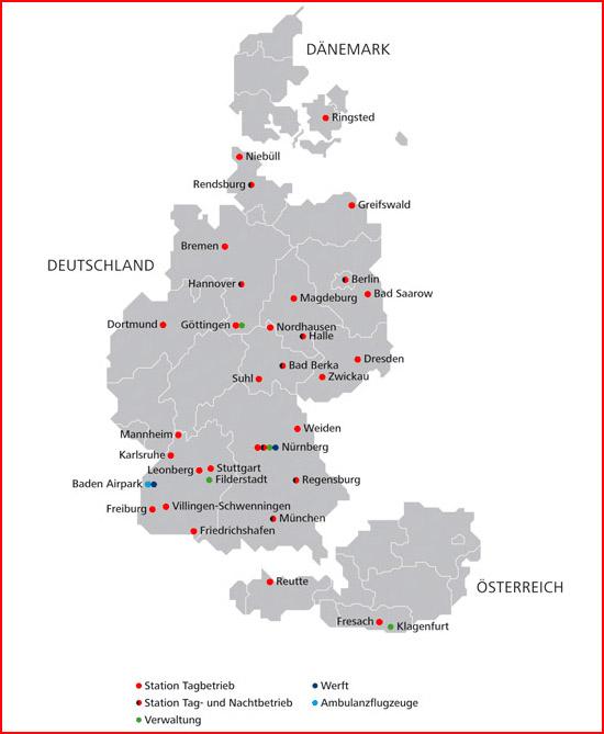 Hier zu sehen ist die Übersicht der DRF Standorte mit Stand vom April 2011