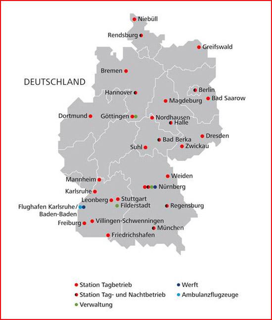 Nach dem Rückzug aus Dänemark verbleiben die hier sichtbaren Standorte in Deutschland sowie die beiden Standorte der ARA Flugrettung in Österreich (Fresach und Reutte)
