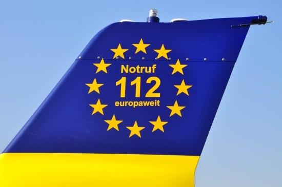 """Weithin sichtbar: der Schriftzug """"Notruf 112 europaweit"""""""