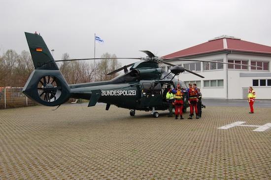 EC 155 im Jahr 2008 anlässlich einer Wasserrettungsübung in Kassel