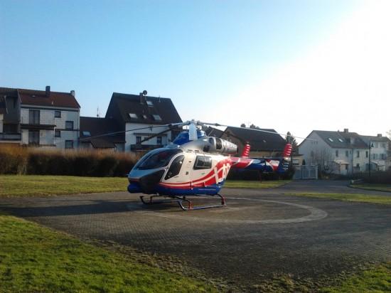 LAR-Hubschrauber Air Rescue 3 bei einem Einsatz im Saarland