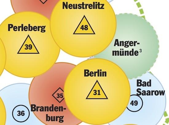 Der Kartenausschnitt zeigt die zu schließende Luftrettungslücke im Nordosten Brandenburgs