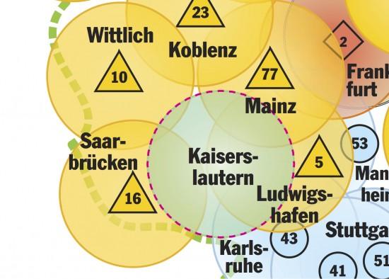 Der Kartenausschnitt zeigt die zahlreichen Überschneidungen in der Westpfalz mit bereits bestehenden RTH-Stationen