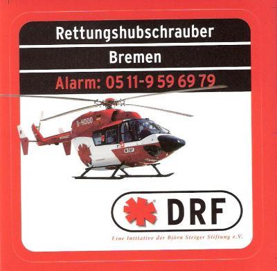 """Mit diesen Aufklebern machte der """"Rettungshubschrauber [für] Bremen"""" auf sich aufmerksam. Man beachte die Rufnummer für den RTH"""