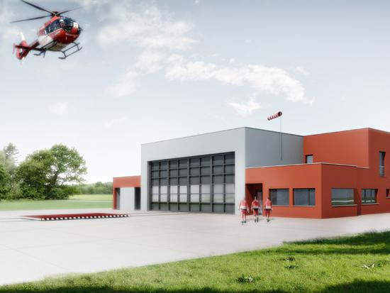 So soll die neue Luftrettungsstation der DRF-Luftrettung in Angermünde aussehen