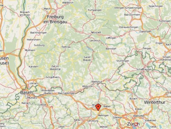 Karte des Standorts in Birrfeld (CH), auf deutscher Seite sind Waldshut, Freiburg/Brsg. (Chr. 54) und Villingen-Schwenningen (Chr. 11)  sichtbar