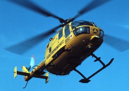 So sah Luftrettung 1975 aus: Eine BO 105 in der damals noch gelben Lackierung der bundeseigenen Maschinen
