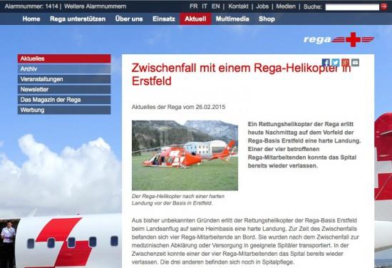 Aktuelle Meldung des Betreibers REGA zum Vorfall
