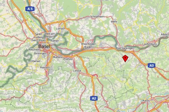 Lage des Flugplatzes Fricktal-Schupfart (rot markiert)
