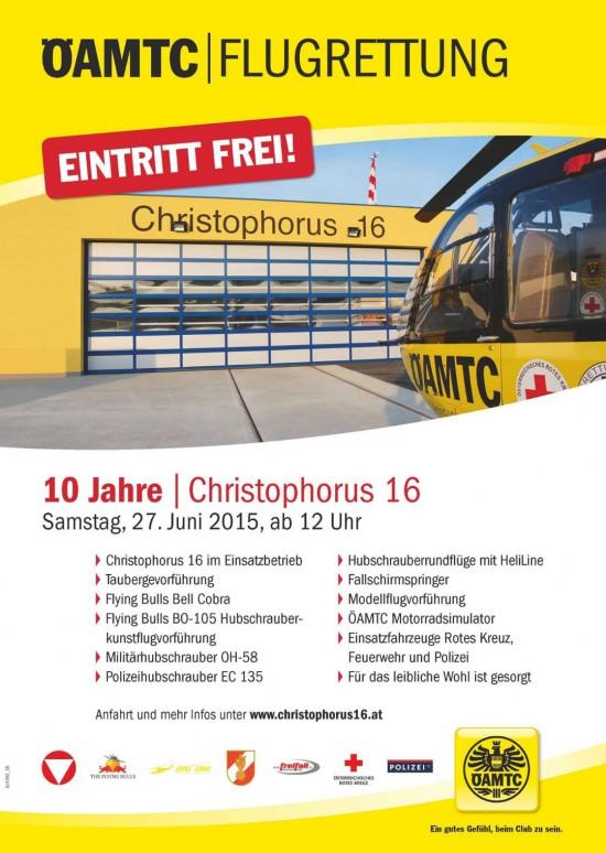Der Werbeflyer für die 10-Jahr-Feier von Christophorus 16