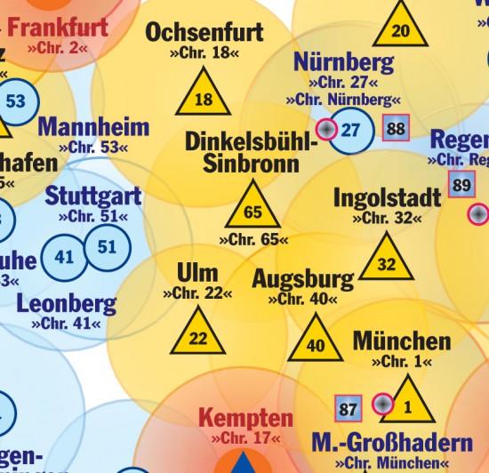 """Der Kartenausschnitt im bayerisch-württembergischen Grenzraum (u. a. mit """"Christoph 65"""") zeigt den in Bayern gültigen 60-km-Radius für RTH"""