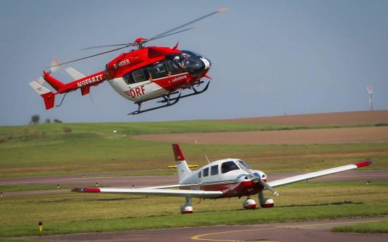 Die EC145 bei der Landung nach einem Einsatz