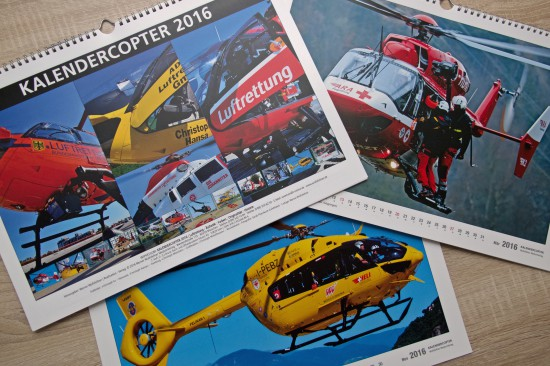 """Farbenfroh: Motive von Helikoptern unterschiedlichster Betreiber im aktuellen """"Kalendercopter 2016"""""""