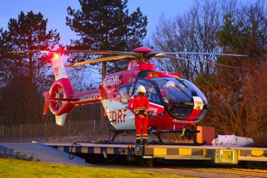 Nach Dienstende wurde die aktuelle Einsatzmaschine zum Interimsstandort am Baden-Airpark überführt.