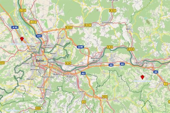 Diese Karte zeigt den bisherigen Standort (Markierung links) und den geprüften Standortkandidaten (Markierung rechts).