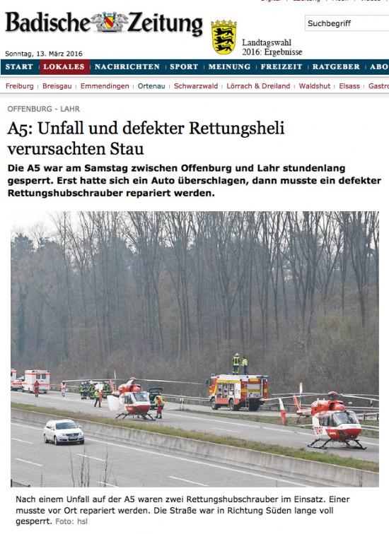 Beide Hubschrauber auf der Autobahn A5