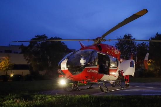 Die in Halle-Oppin eingesetzte EC 145 im Nachteinsatz