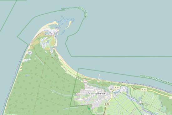 Karte der Ostsee bei Prerow/Fischland, in der Nähe dieses Ortes ereignete sich der Absturz in die See