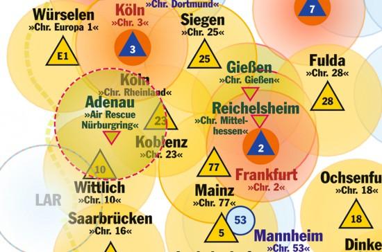 """Der Kartenausschnitt (Stand: 16.11.2016) zeigt den primären Einsatzradius des ITH """"Air Rescue Nürburgring"""""""