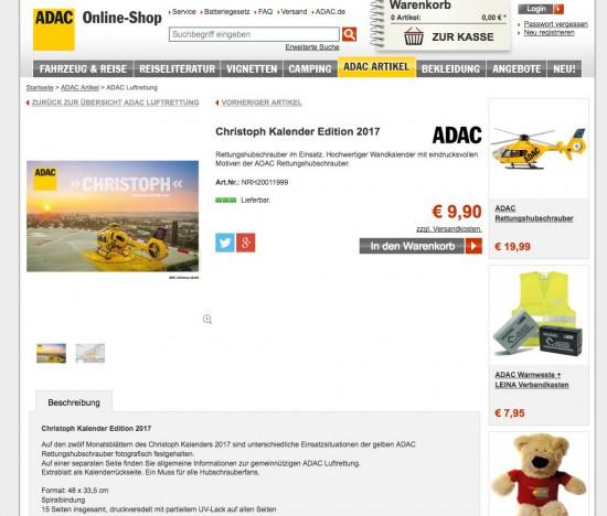 Christoph Kalender Edition 2017 im ADAC-Webshop