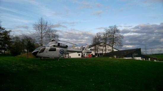 """Am 15. April 2018 war der """"Air Rescue 3"""" der LAR im Ferienpark Hochwald bei Kell am See im Einsatz als schneller Notarztzubringer"""