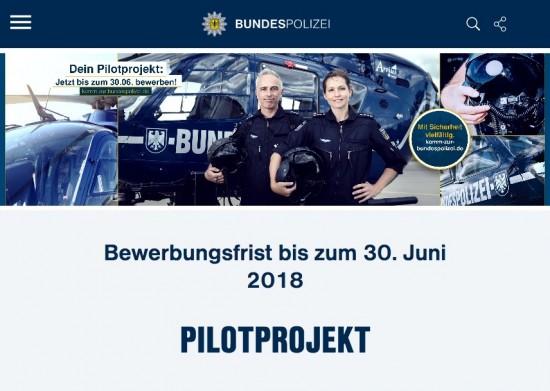 """Karrierewebseite der Bundespolizei zum """"Pilotprojekt"""""""