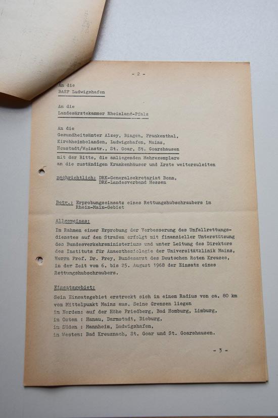 Im Bestand des Landeshauptarchivs Koblenz befindet sich das Rundschreiben des DRK-Landesverbandes Rheinland-Pfalz vom 1. August 1968
