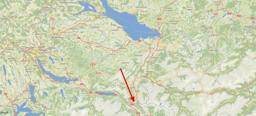 Lage von Balzers / Liechtenstein