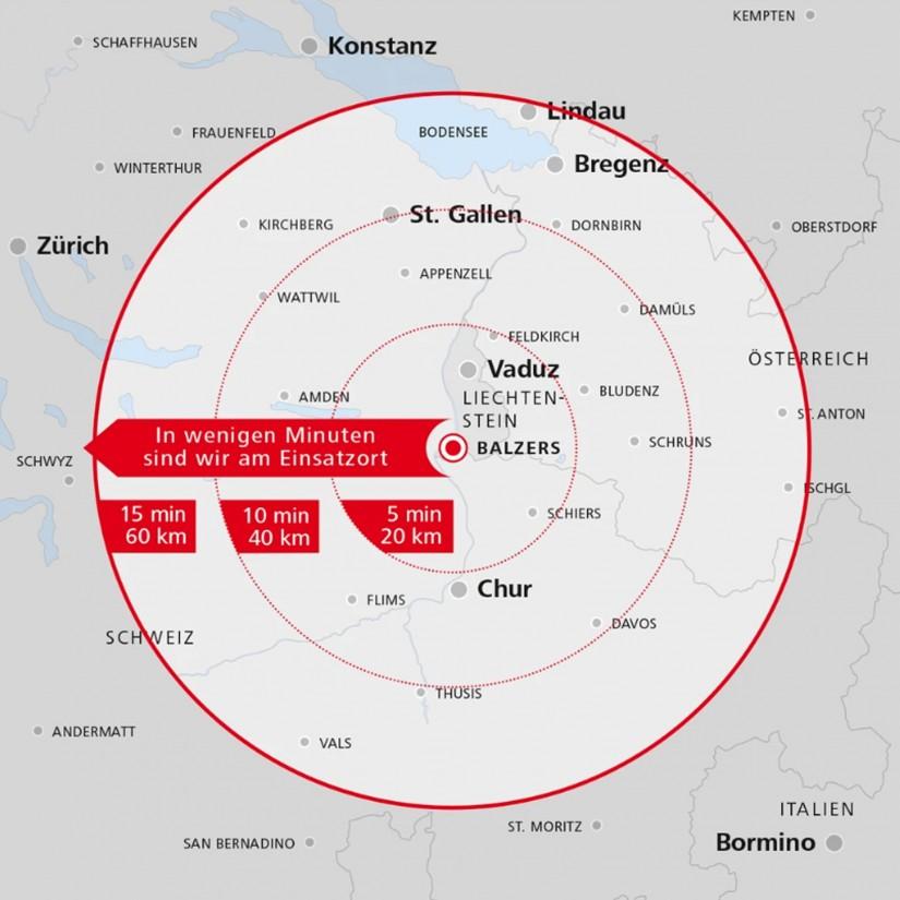 """Die neue Luftrettungsstation von """"Christoph Liechtenstein"""" liegt im Vierländereck"""