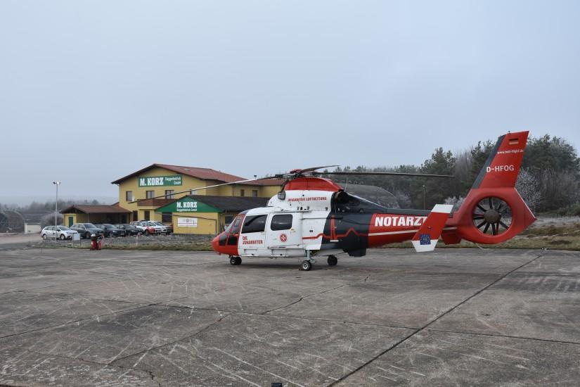 Die Johanniter Luftrettung nutzt ein luftfahrtrechtlich genehmigtes Areal auf der ehemaligen U. S. Air Base in Sembach