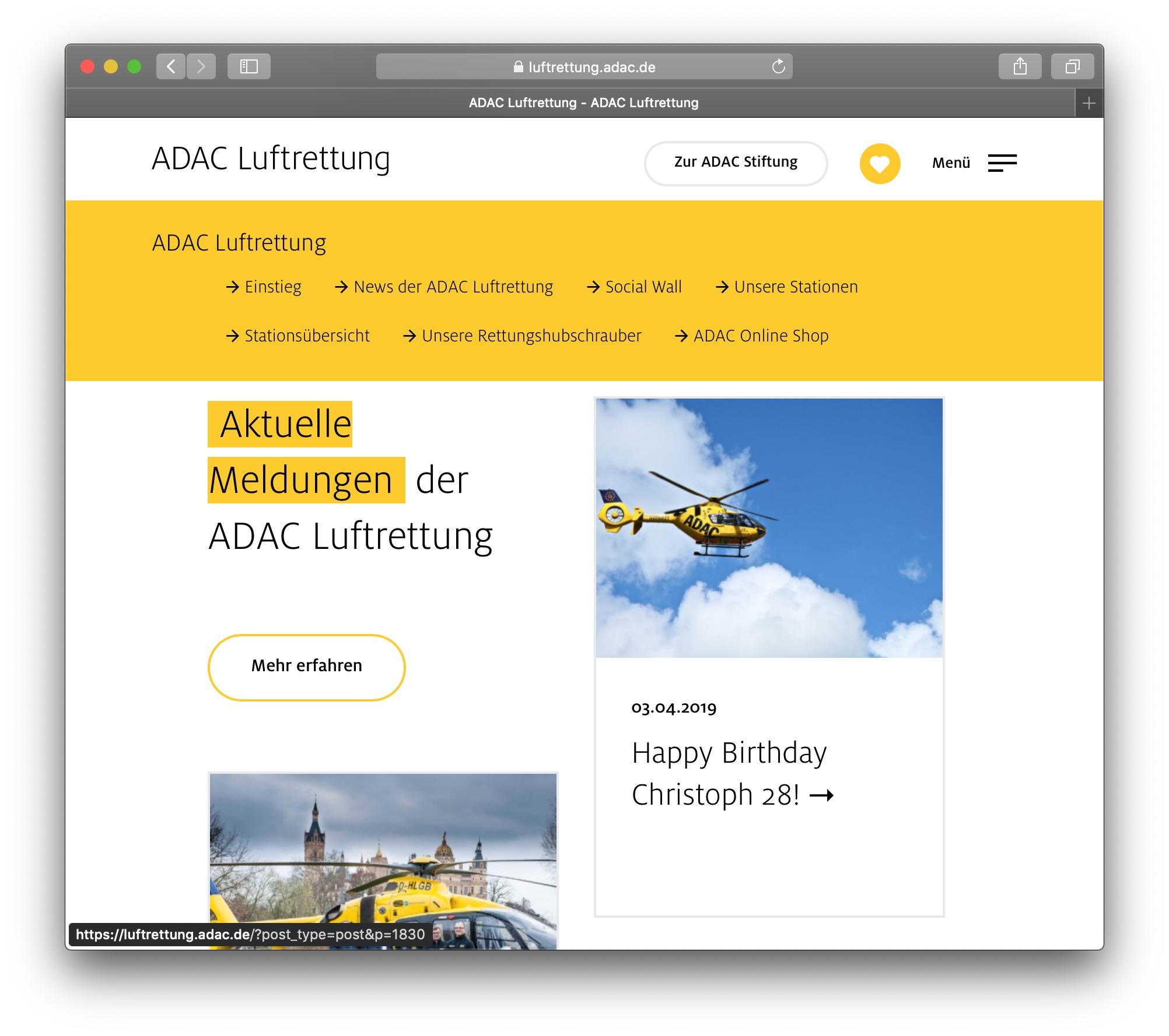 Die neu gestaltete Webseite