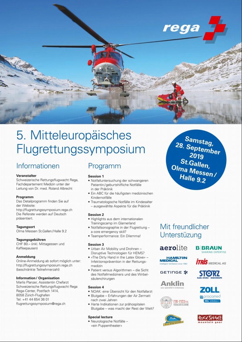 Poster des 5. Mitteleuropäischen Flugrettungssymposiums in St. Gallen