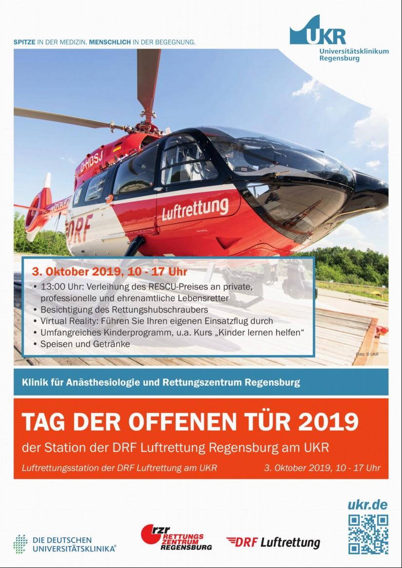 Am Donnerstag, dem 03.10.2019, findet von 10:00 bis 17:00 Uhr an der Regensburger Hubschrauberstation ein Tag der offenen Tür statt